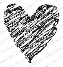 Impression Obsession - Cling Mounted Rubber Stamp - By Alesa Baker - Swirly Chalk Heart
