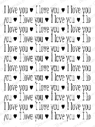 Impression Obsession - Cling Mounted Rubber Stamp - By Kalani Allred - I Love You Background