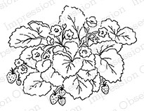 Impression Obsession - Cling Mounted Rubber Stamp - By Alesa Baker - Strawberry Plant