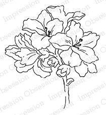 Impression Obsession - Cling Mounted Rubber Stamp - By Alesa Baker - Frilly Floral 1