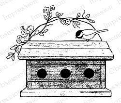 Impression Obsession - Cling Mounted Rubber Stamp - By Alesa Baker - Spring Birdhouse