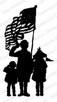 Impression Obsession - Cling Mounted Rubber Stamp - By Dina Kowal - Flag Crew Silhouette