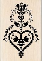 Inkadinkado - Wood Mounted Rubber Stamp - Folk Art Heart
