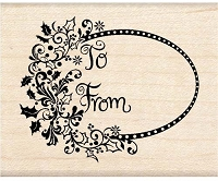 Inkadinkado - Wood Mounted Stamp - Wild Holly Tag