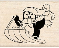 Inkadinkado - Wood Mounted Stamp - Cute Penguin