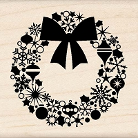 Inkadinkado - Wood Mounted Stamp - Wreath