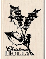 Inkadinkado - Wood Mounted Stamp - Christmas Holly Wordplay