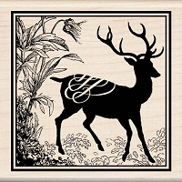 Inkadinkado - Wood Mounted Stamp - Heirloom Deer Print