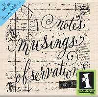 Inkadinkado - Wood Mounted Rubber Stamp - Notes Musings Observations