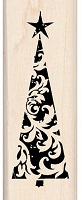 Inkadinkado - Wood Mounted Stamp - Tall Ornate Tree