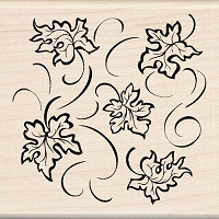 Inkadinkado - Wood Mounted Stamp - Leaves Pattern