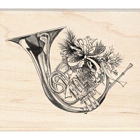 Inkadinkado - Wood Mounted Stamp - Holiday Horn