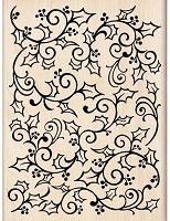Inkadinkado - Wood Mounted Stamp - Open Holly Swirl