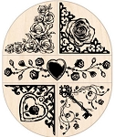 Inkadinkado Wood Mounted Rubber Stamp - Rose Corner/Border Set