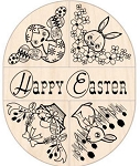 Inkadinkado Wood Mounted Rubber Stamp - Easter Corner/Border Set