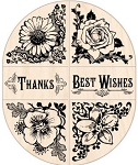 Inkadinkado Wood Mounted Rubber Stamp - Flower Corner/Border Set