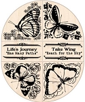 Inkadinkado Wood Mounted Rubber Stamp - Butterfly Corner/Border Set