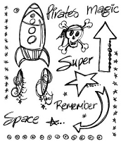 Inque Boutique - See D's  Unmounted Rubber Stamp Set  - A Boy's World