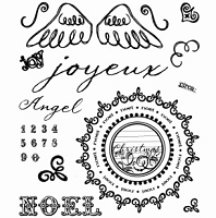 Inque Boutique - See D's  Unmounted Rubber Stamp Set  - Joyeux Noel