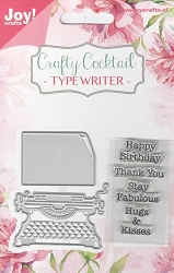Joy Crafts - Cutting & Embossing Die - Crafty Cocktail Typewriter with stamps