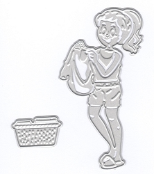 Joy Crafts - Cutting & Embossing Die - 3D Woman with Laundry Basket