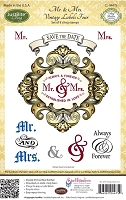 Just Rite - Cling Stamp Set - Mr. & Mrs. Vintage Labels Four