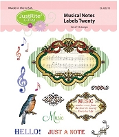 Just Rite - Cling Stamp - Musical Notes Labels Twenty