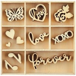 KaiserCraft - P.S. I Love You Collection - Love Wooden Shapes