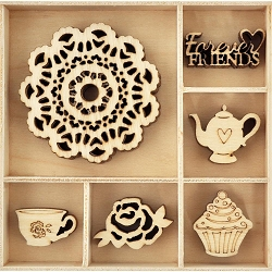 KaiserCraft - High Tea Collection - Tea Party Wooden Shapes
