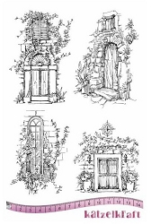 Katzelkraft - A5 Unmounted Rubber Stamp Sheet - Les Portes (Doorways) (5.5