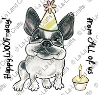 La-La Land Crafts - Rubber Cling Stamp - Birthday Frenchie