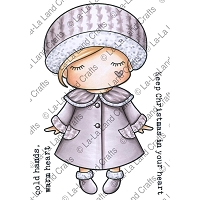 La-La Land Crafts - Rubber Cling Stamp - Paper Doll Marci - Winter Coat