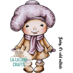 La-La Land Crafts - Rubber Cling Stamp - Winter Baby Marci