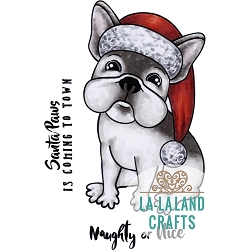 La-La Land Crafts - Rubber Cling Stamp - Christmas Frenchie