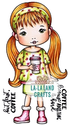 La-La Land Crafts - Rubber Cling Stamp - Molli With Coffee