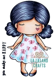 La-La Land Crafts - Rubber Cling Stamp - Paper Doll Marci - Happy