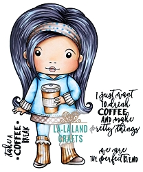 La-La Land Crafts - Rubber Cling Stamp - Coffee Break Marci