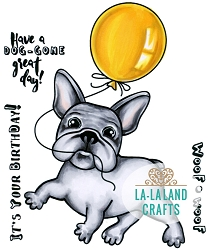 La-La Land Crafts - Rubber Cling Stamp - Balloon Frenchie