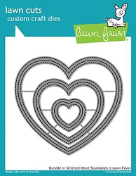 Lawn Fawn - Die - Outside In Stitched Heart Stackables