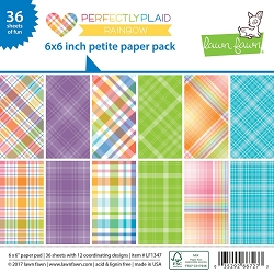 Lawn Fawn - 6x6 paper pad - Perfectly Plaid Rainbow Petite Paper Pack