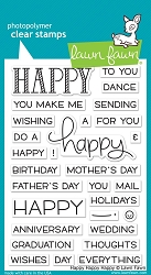 Lawn Fawn - Clear Stamps - Happy Happy Happy