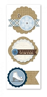 Little Yellow Bicycle - Winterings Collection - Layered Burlap Stickers (3 Pieces).