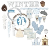 Little Yellow Bicycle - Winterings Collection - Chipboard Shapes (29 pieces)