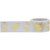 Little B - Decorative Paper Tape - Gold Foiled Autumn Leaves (25mm x 10m)