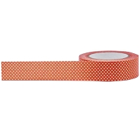 Little B - Decorative Paper Tape - Orange with Foiled Gold Dots (15mm x 10m)