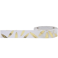 Little B - Decorative Paper Tape - Gold Foiled Feathers (15mm x 10m)