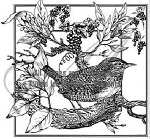 Magenta-Cling Stamp-Bird on Branch in Square