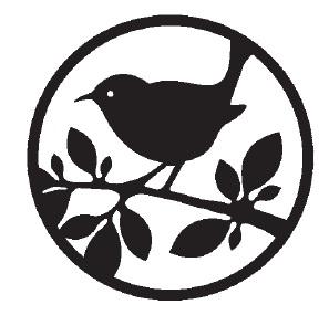 Magenta Cling Rubber Stamp Bold Circle Bird