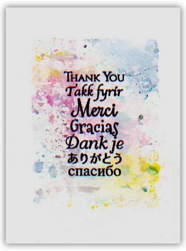 Magenta Cling Rubber Stamp Multilingual Thank You