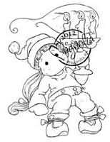 Magnolia - Cling Mounted Rubber Stamp - Tilda with Christmas Candle